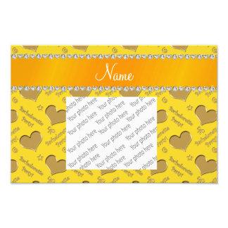 Name yellow gold hearts bachelorette party photo print