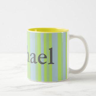 Name yellow grey blue stripes coffee mug