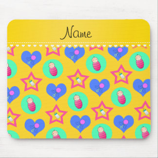 Name yellow hearts dots stars baby rattle bottle mouse pad
