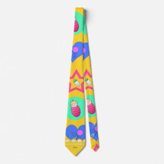 Name yellow hearts dots stars baby rattle bottle neck tie