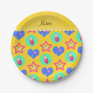 Name yellow hearts dots stars baby rattle bottle paper plate