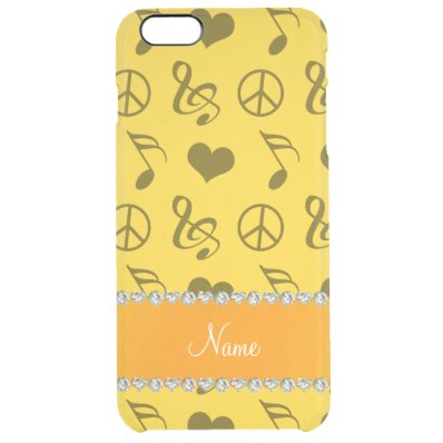 Name yellow music notes hearts peace sign clear iPhone 6 plus case
