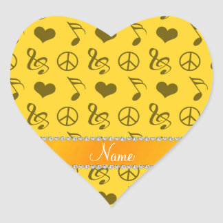 Name yellow music notes hearts peace sign heart sticker