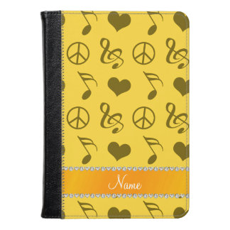 Name yellow music notes hearts peace sign kindle case