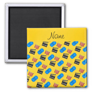 Name yellow popcorn movie ticket action sign 2 inch square magnet