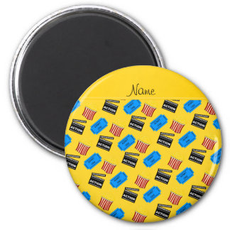 Name yellow popcorn movie ticket action sign 2 inch round magnet