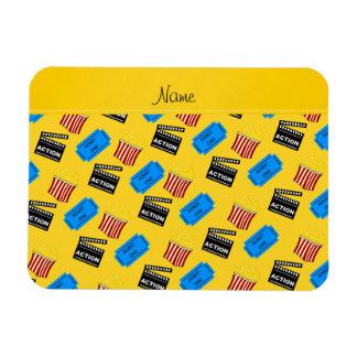 Name yellow popcorn movie ticket action sign rectangular photo magnet