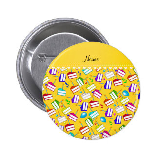 Name yellow rainbow cakes balloons swirls 2 inch round button