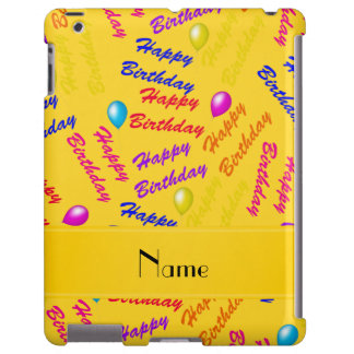 Name yellow rainbow happy birthday balloons