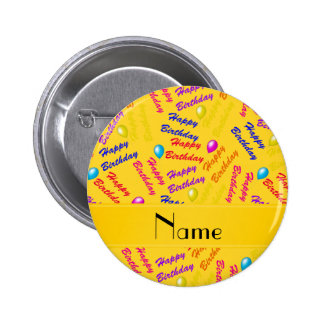 Name yellow rainbow happy birthday balloons 2 inch round button