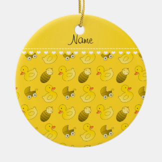 Name yellow rubberduck baby carriage ceramic ornament