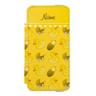 Name yellow rubberduck baby carriage iPhone SE/5/5s wallet case