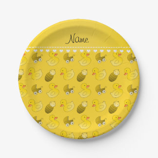 Name yellow rubberduck baby carriage paper plate