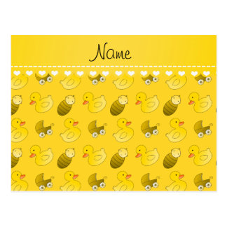 Name yellow rubberduck baby carriage postcard