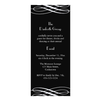 Name your Event Black with Ribbons 4x9.25 Paper Invitation Card