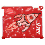 Named 4 letter rocket space kid ipad cover red