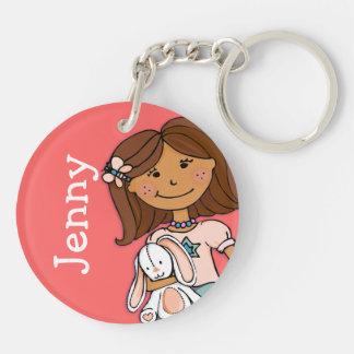 Named 5 letter girls pink dark hair girl keychain