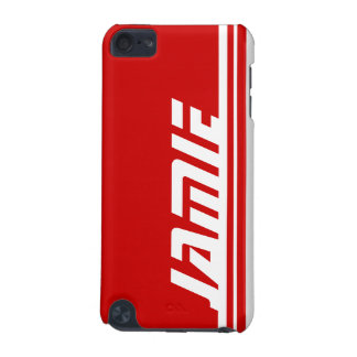 Named 5 letter red & white stripe sports ipod case