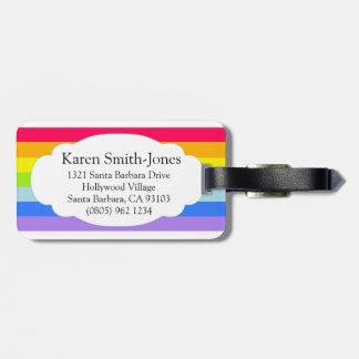 Named bright rainbow cloud luggage tag
