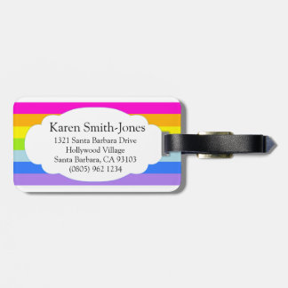 Named bright rainbow cloud pink luggage tag