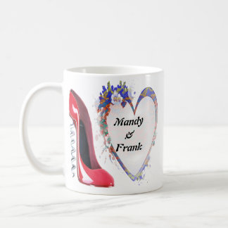 Named Corkscrew Red Stiletto Shoe and Heart Gifts Basic White Mug