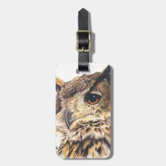 Named eagle owl fine art luggage tag