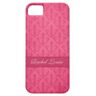 Named Fleur de Lis damask pink iphone 5 case