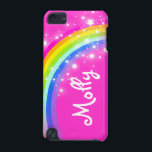"Named kids rainbow pink girl ipod case<br><div class=""desc"">Uniquely designed bright and colourful rainbow add your name girlie ipod case. Case reads: ""Molly"" or personalise this case with the name of your choice up to 5 letters. A perfect gift for a vibrant child. Item designed exclusively by Sarah Trett. www.sarahtrett.com</div>"