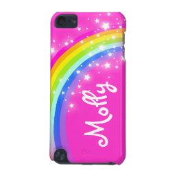 Named kids rainbow pink girl ipod case