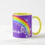 Named kids rainbow purple red mug