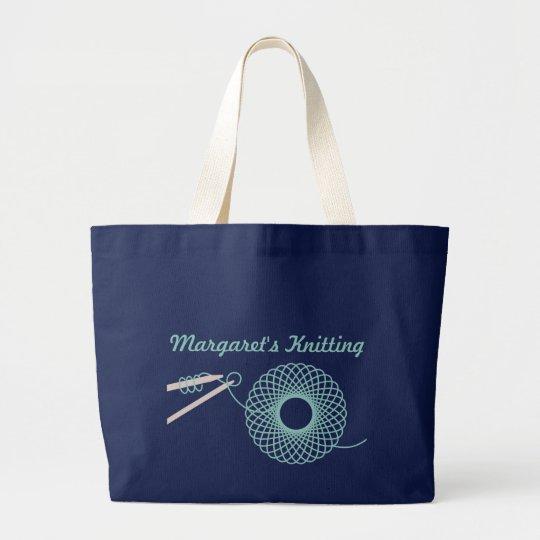 Named knitting dark teal bag