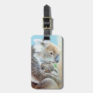 Named Koala cuddle fine art luggage tag