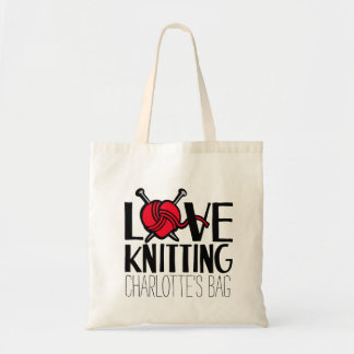 Named love knitting red bag