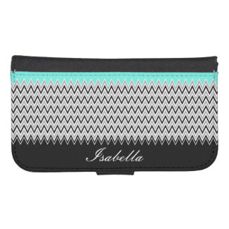 Named Mint Stripes and Chevron Galaxy S4 Wallet Case