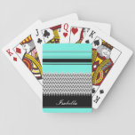 "Named Mint Stripes and Chevron Playing Cards<br><div class=""desc"">Original design with black and grey stripes and chevron on a mint background. It is a great gift for any occasion.</div>"