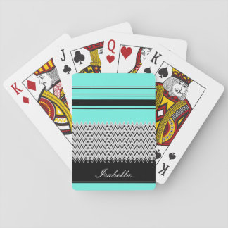 Named Mint Stripes and Chevron Playing Cards