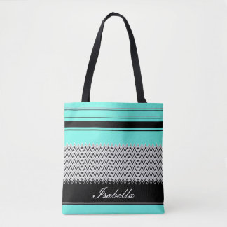Named Mint Stripes and Chevron Tote Bag