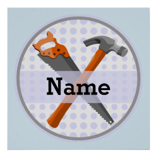 Named Personalized Tools design for boys. Poster