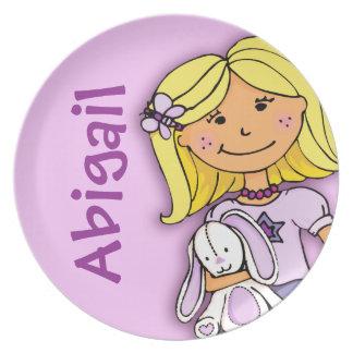 """Named"" purple blonde abigail girl kids plate"