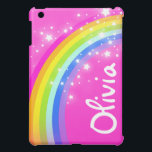"""Named rainbow bright pink girls ipad mini case<br><div class=""""desc"""">Fun case rainbow designed by exclusively by Sarah Trett. Customise with name of your choice. This example reads Olivia.</div>"""