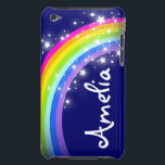 "Named rainbow on navy ipod case<br><div class=""desc"">Uniquely designed bright and colourful rainbow add your name girlie ipod case. Case reads: ""Amelia"" or personalise this case with the name of your choice up to 6 letters.  A perfect gift for a vibrant child. Item designed exclusively by Sarah Trett.</div>"