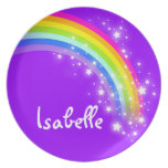 """Named"" rainbow purple pink girls kids plate"