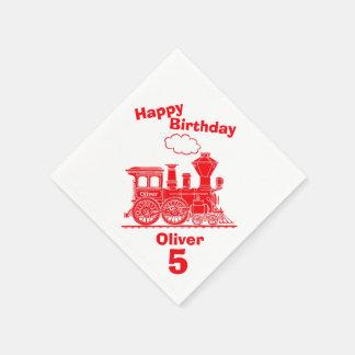 Named red train boys 5th birthday napkins