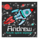 Named rocket space boys grey red poster