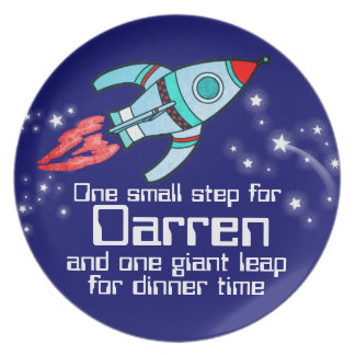 Named space rocket one step boys kids plate