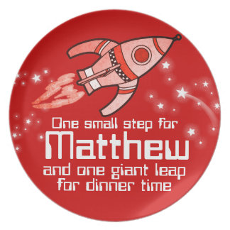 Named space rocket one step boys red kids plate