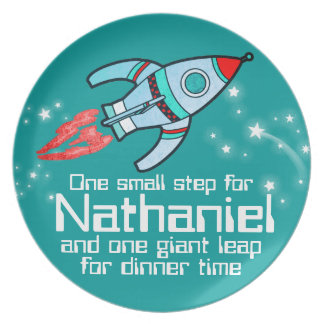 Named space rocket one step boys teal kids plate