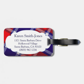 Named tartan blue red white luggage tag