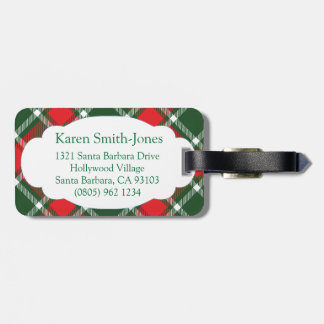 Named tartan green red white luggage tag