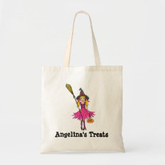 Named Treats Blonde Girl Halloween Bag at Zazzle